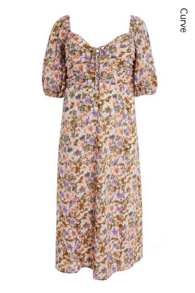 Curve Lilac Floral Midi Dress